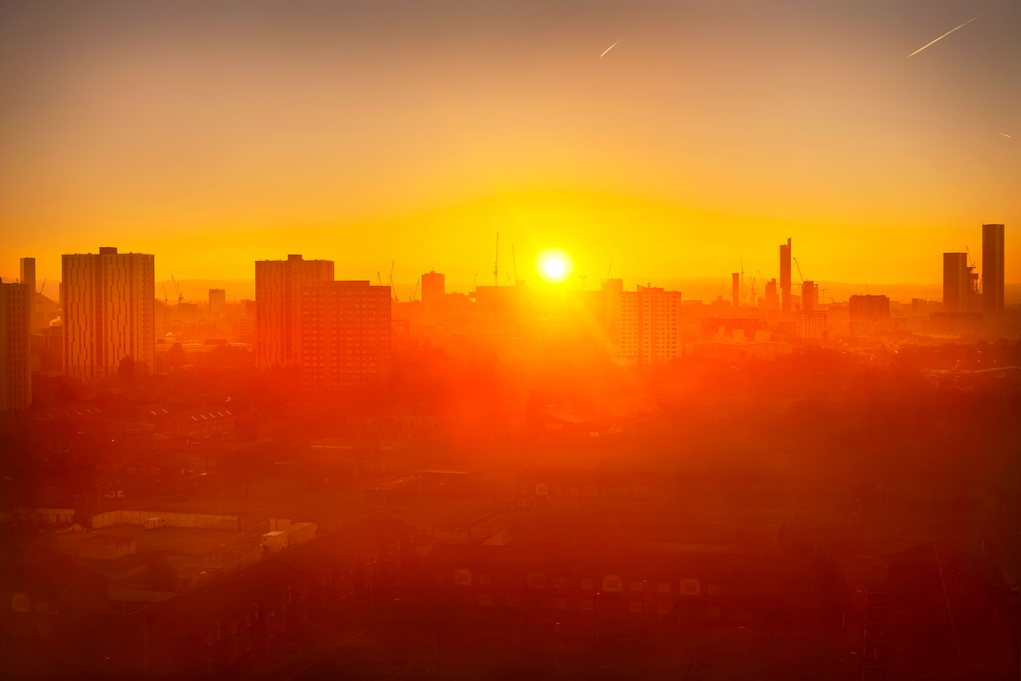 Salford at sunrise, looking towards Manchester